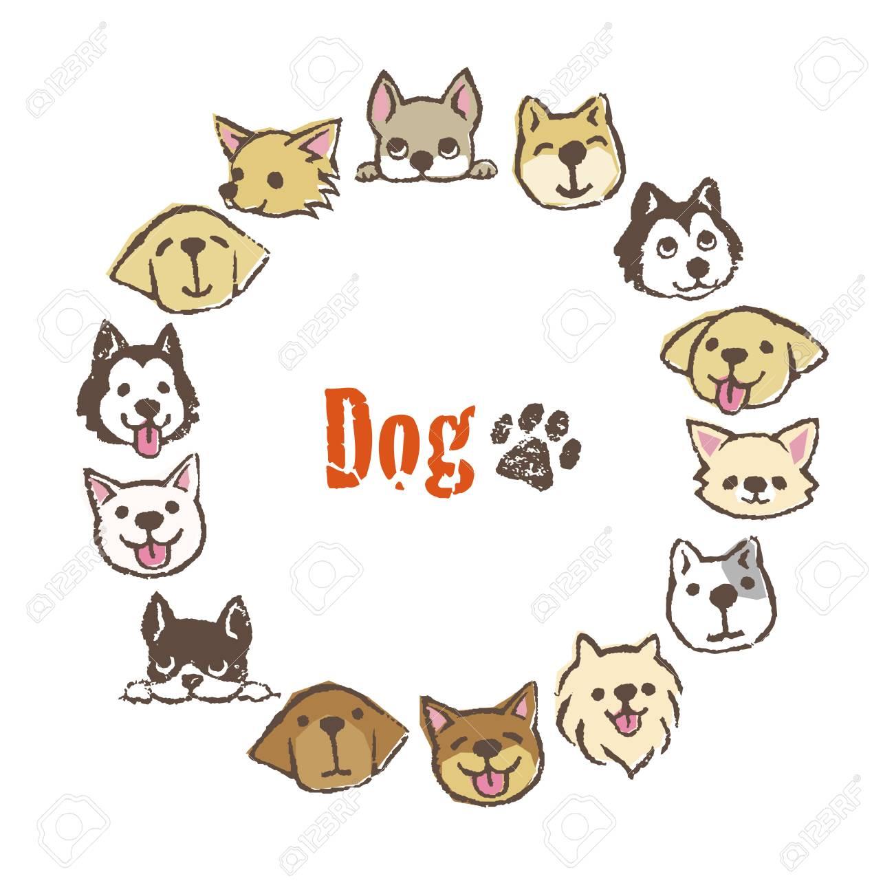 Marco De Círculo Con Diferentes Tipos De Perros Lindos, Diseño De ...