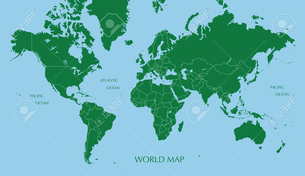World Map Mercator Projection With Boundary Line Royalty Free