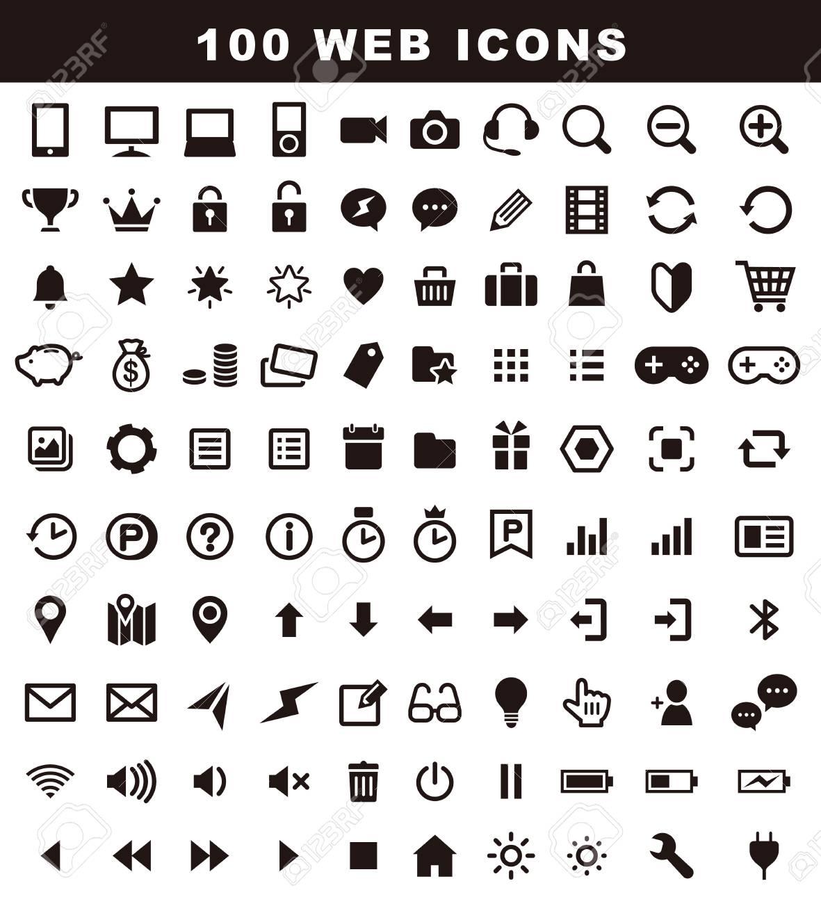 100 variety icons, web icon set - 121829121