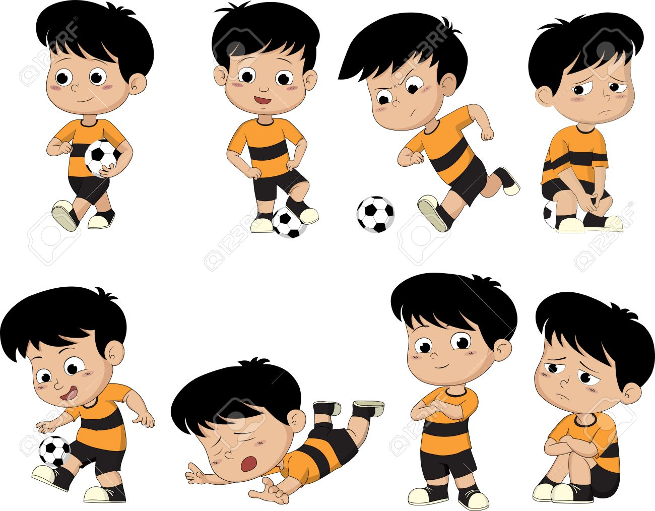 Cartoon soccer kid with different pose. - 53879338