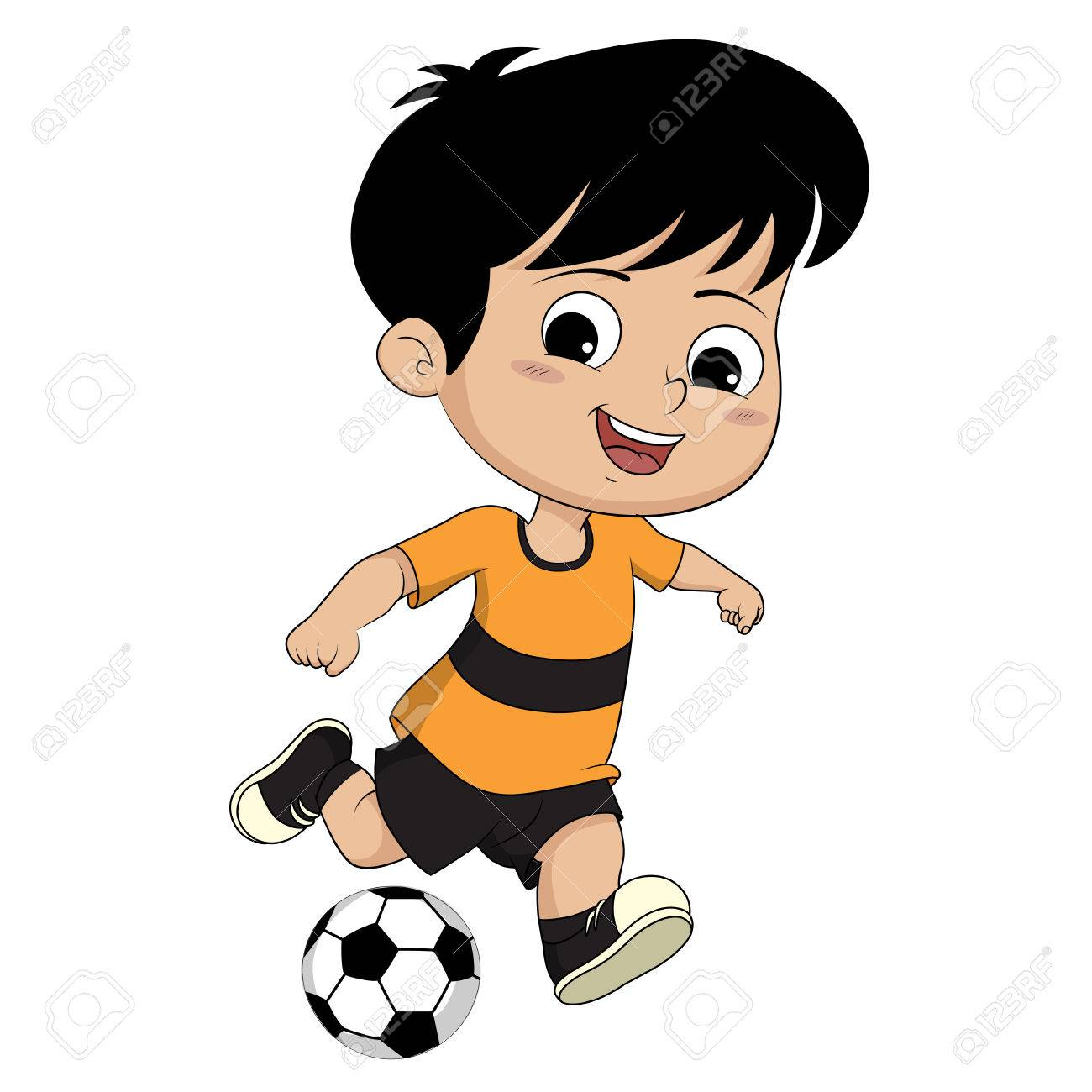 Kids Kicking Football He Is As Poor But He Loves To Play Football And Royalty Free Cliparts Vectors And Stock Illustration Image 61107975