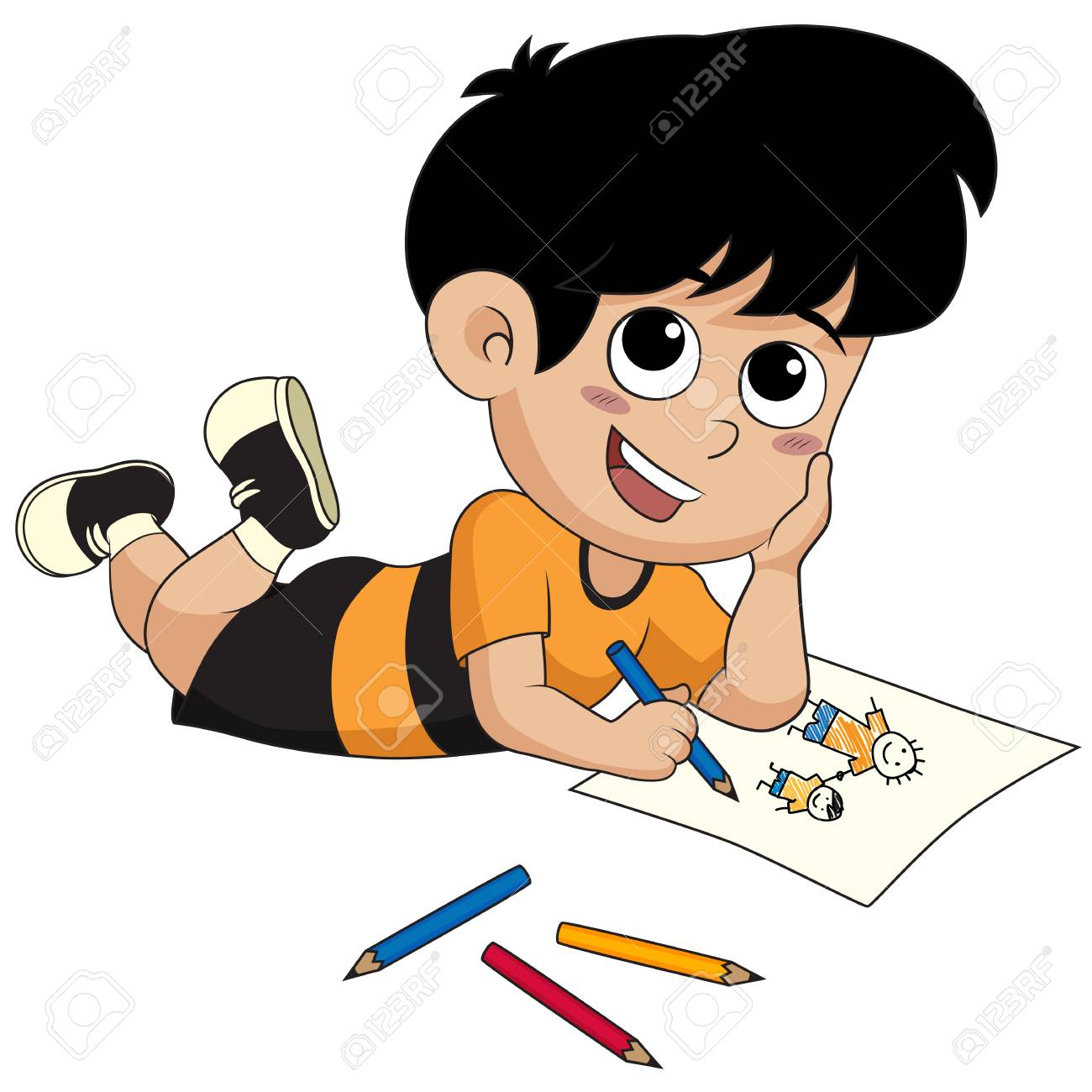 Niño Dibujando Un Pictures.vector Y La Ilustración Ilustraciones  Vectoriales, Clip Art Vectorizado Libre De Derechos. Image 77255560.