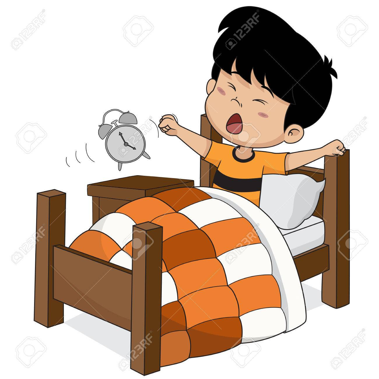 kid wake up in the morning vector and illustration royalty free rh 123rf com wake up clipart free wake up early clipart