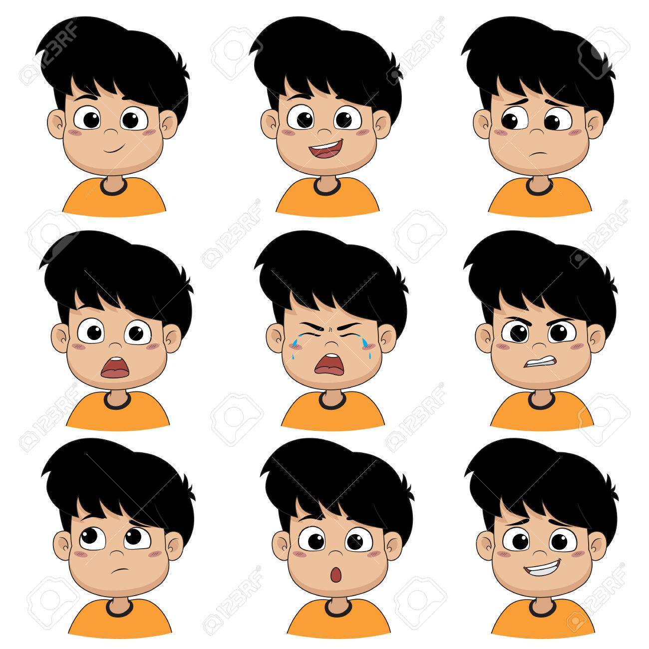 Set of emotion cute boy ,smile, happy, laugh, sad, surprise, cry, tears, upset, angry, thinking,sorry.Vector and illustration. - 82814800