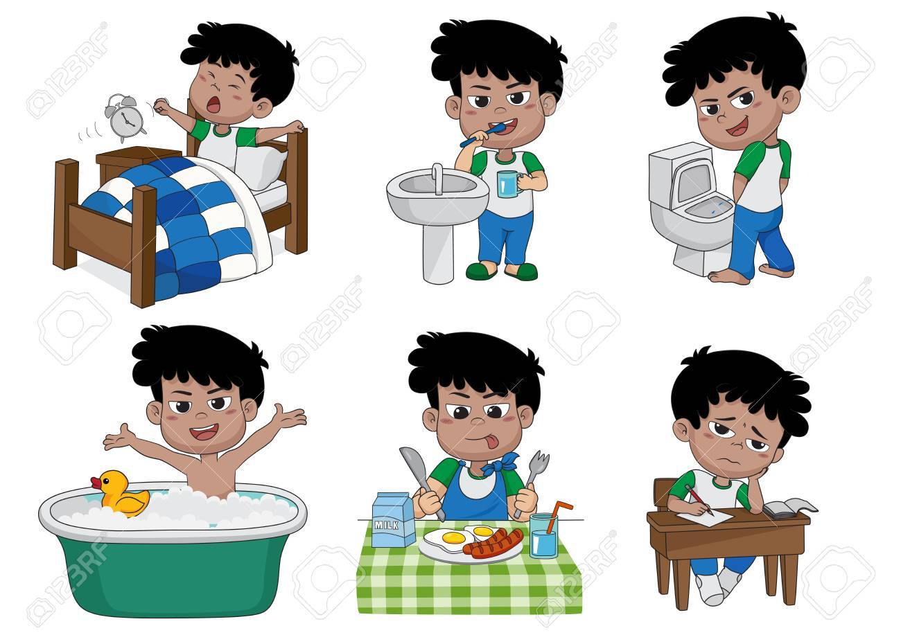 Conjunto De Diario Lindo Muchacho Niño Despertar Cepillarse Los Dientes Pee Niño Tomando Un Baño Desayuno Niño Writhingvector E