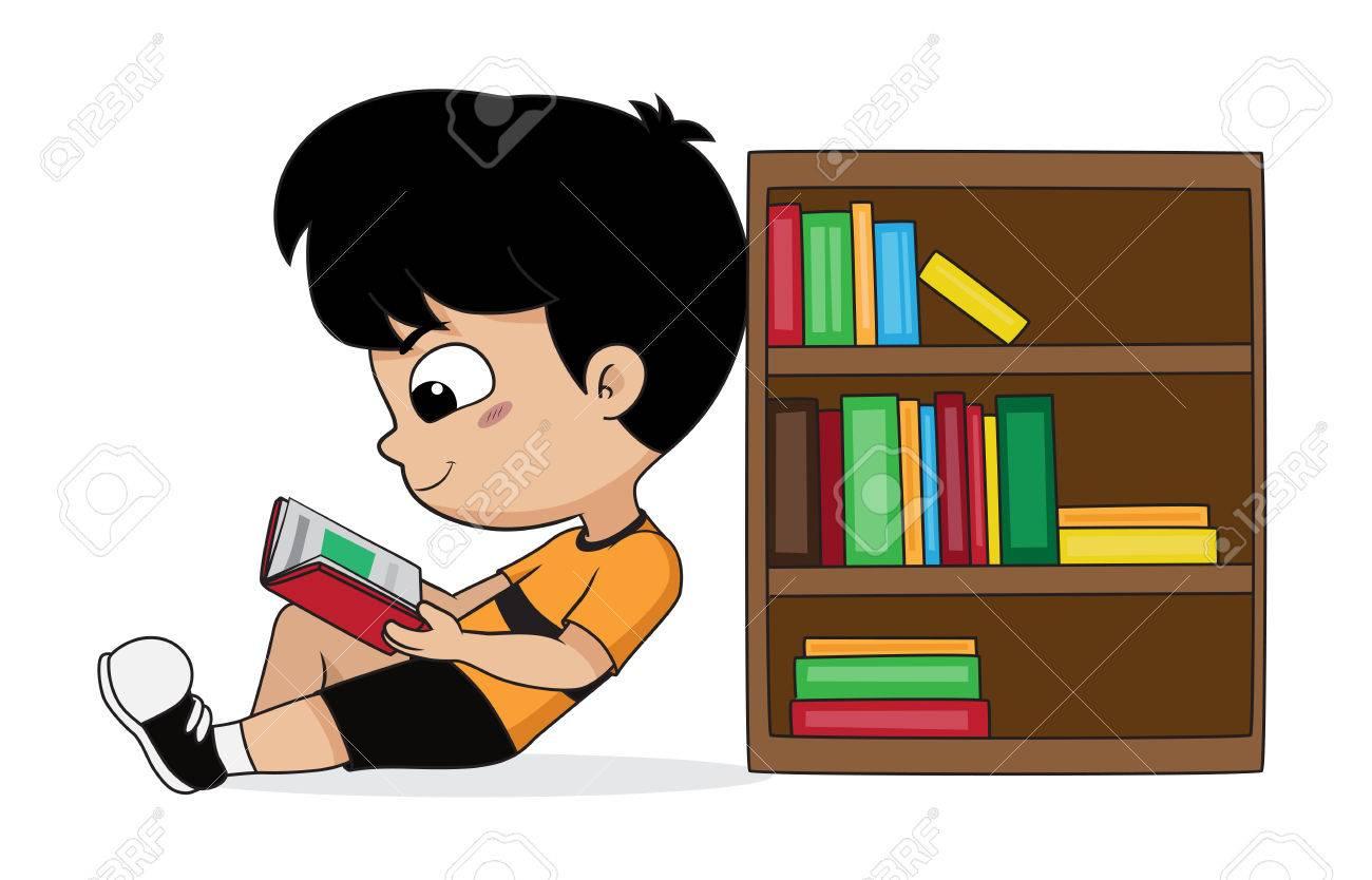 Garcon Qui Lit Un Livre Dans La Bibliotheque Vector Et Illustration