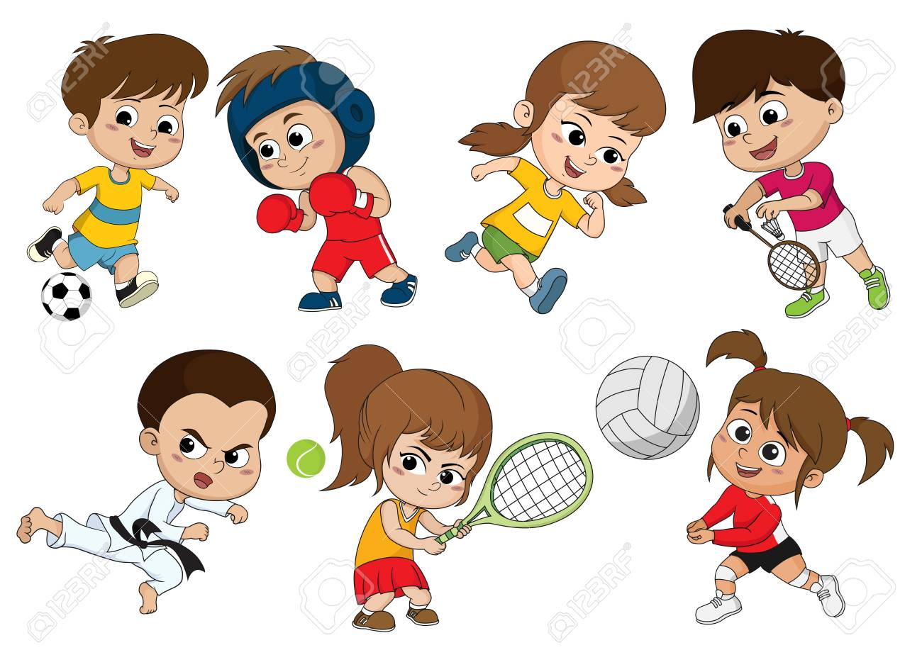 Children of various types of sports, such as soccer, boxing, running, badminton, taekwondo, play tennis, volleyball.Sports help make body strong and also build immunity for kids. - 88019701