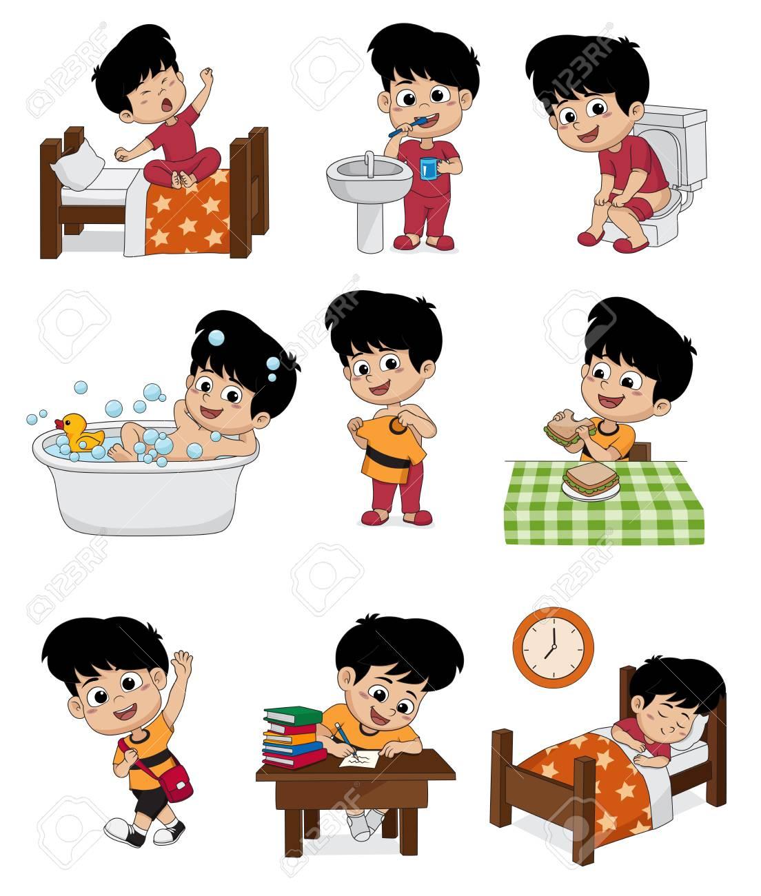 Jeu de garçon mignon quotidien. Réveil de bébé, se brosser les dents, pipi d'enfant, prendre un bain, habillé, petit déjeuner, enfant d'apprentissage,
