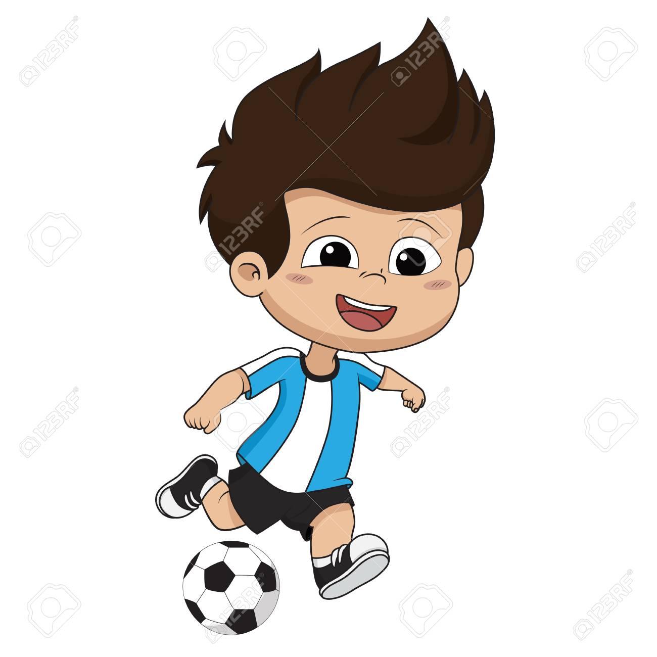 Kid kicks a ball.Vector and illustration. - 100914570