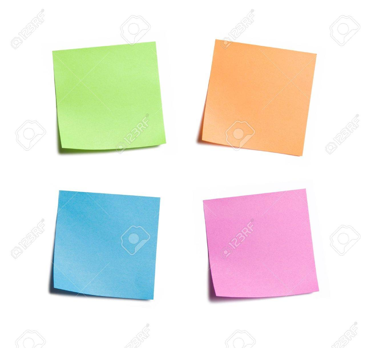 Four vibrant sticky notes on white background Stock Photo - 3463111