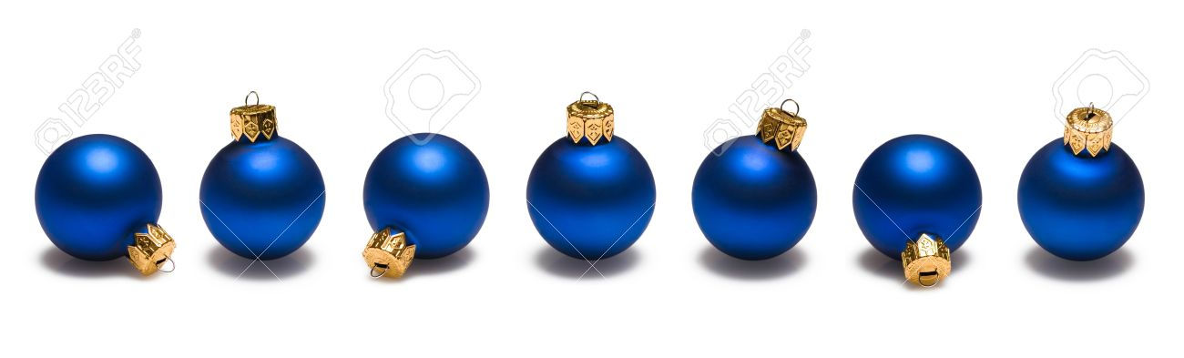 blue christmas ornaments border on white background stock photo 3776691