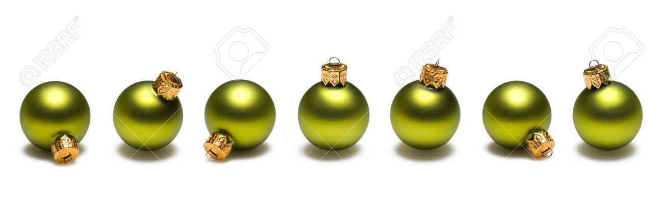 Lime Green Christmas Ornaments Border On White Background