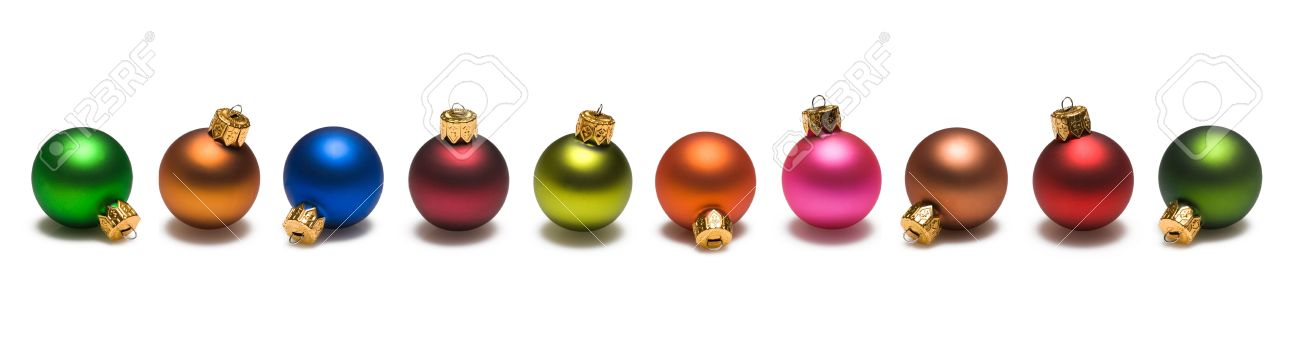 Christmas Ornaments Of Many Colors Border On White Background Stock ...