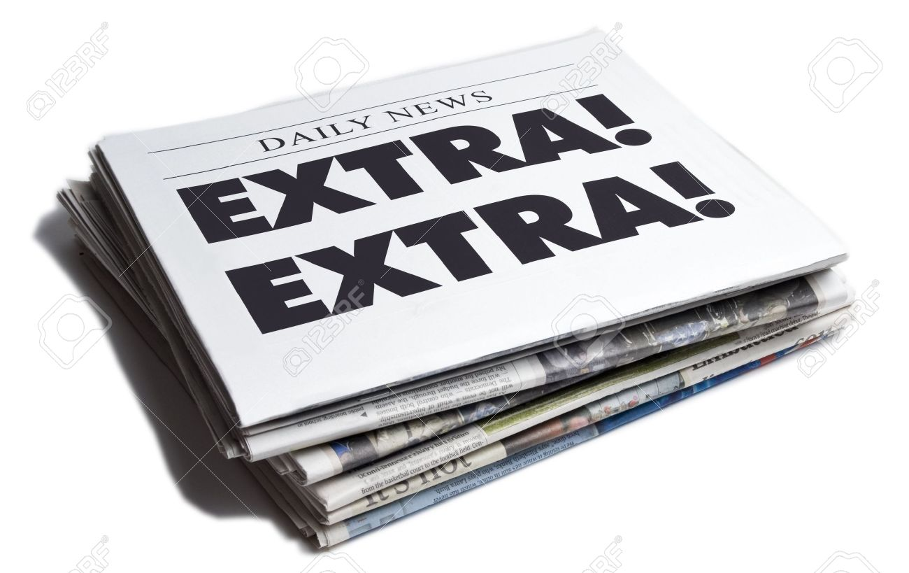 Extra Extra Newspaper Isolated On White Background Stock Photo, Picture And  Royalty Free Image. Image 4998657.