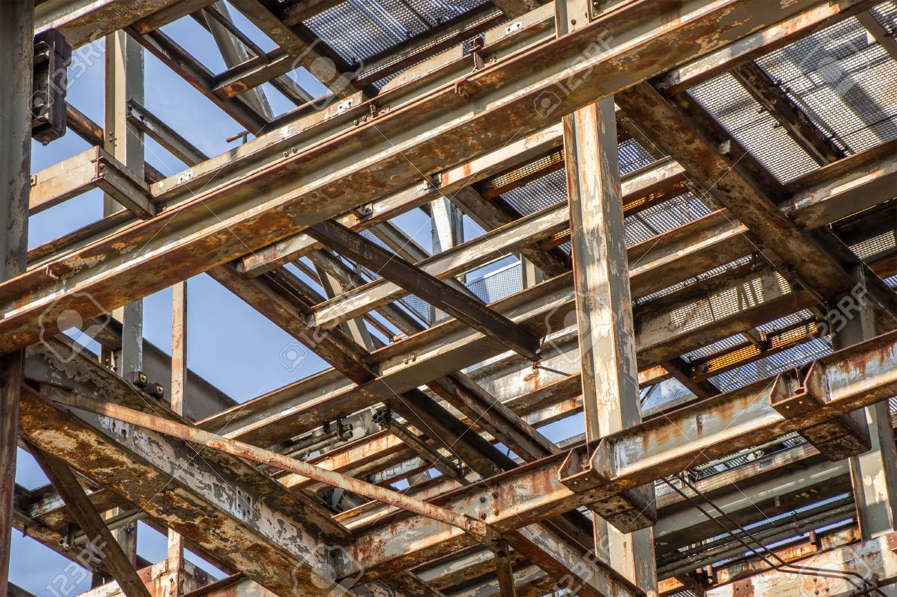 Fragment Of An Old Steel Frame Construction Stock Photo, Picture And ...