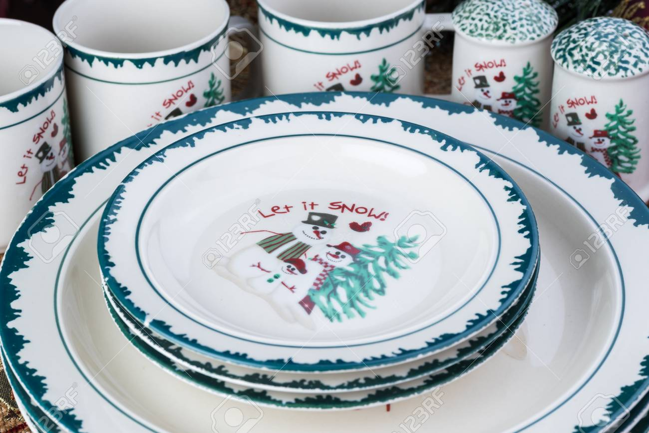 Close Up Of Christmas Decorative Dinner Plates Dessert Plates