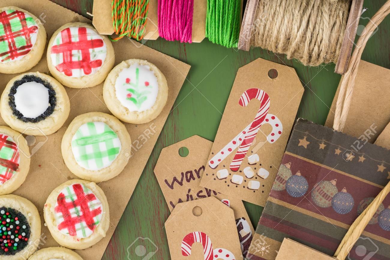 Homemade Christmas Cookies And Packaging Stuff For Christmas.. Stock ...