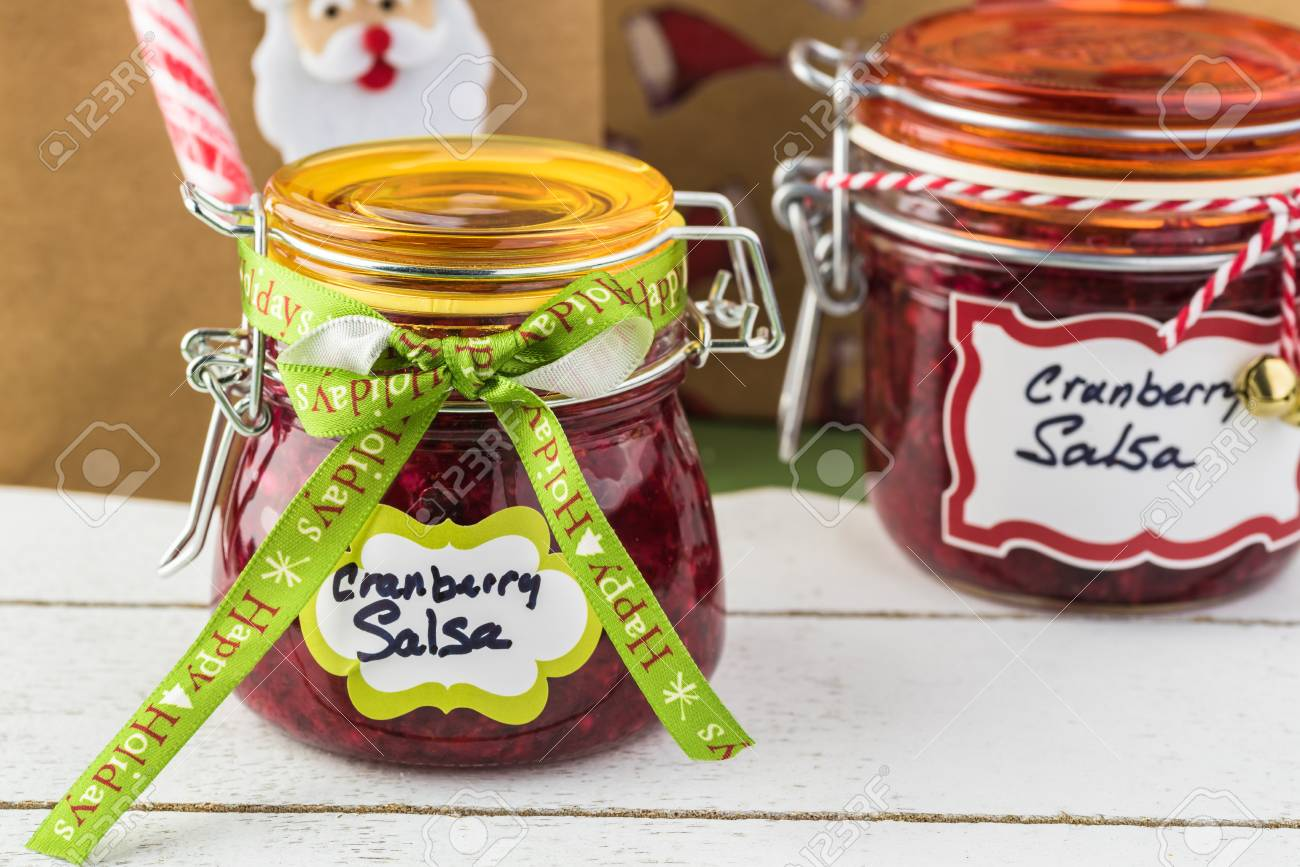 Close Up Of Jars With Fresh Homemade Cranberry Salsa Decorated ...
