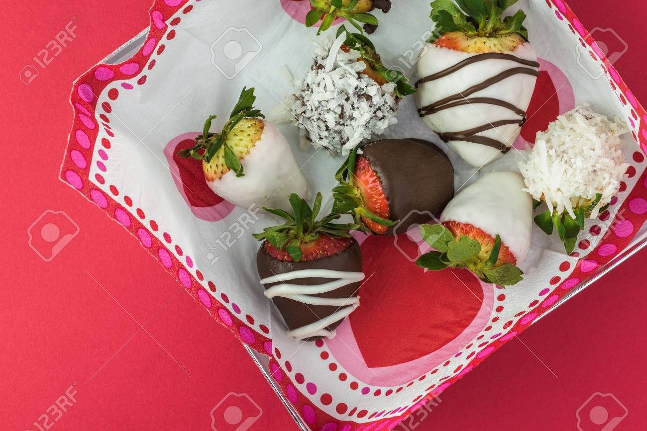 Top View Of Chocolate Covered Strawberries In A Box Gift For