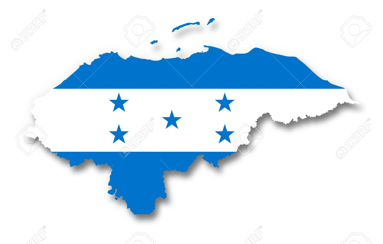 Honduras Flag Map Map And Flag Of Honduras Stock Photo, Picture And Royalty Free