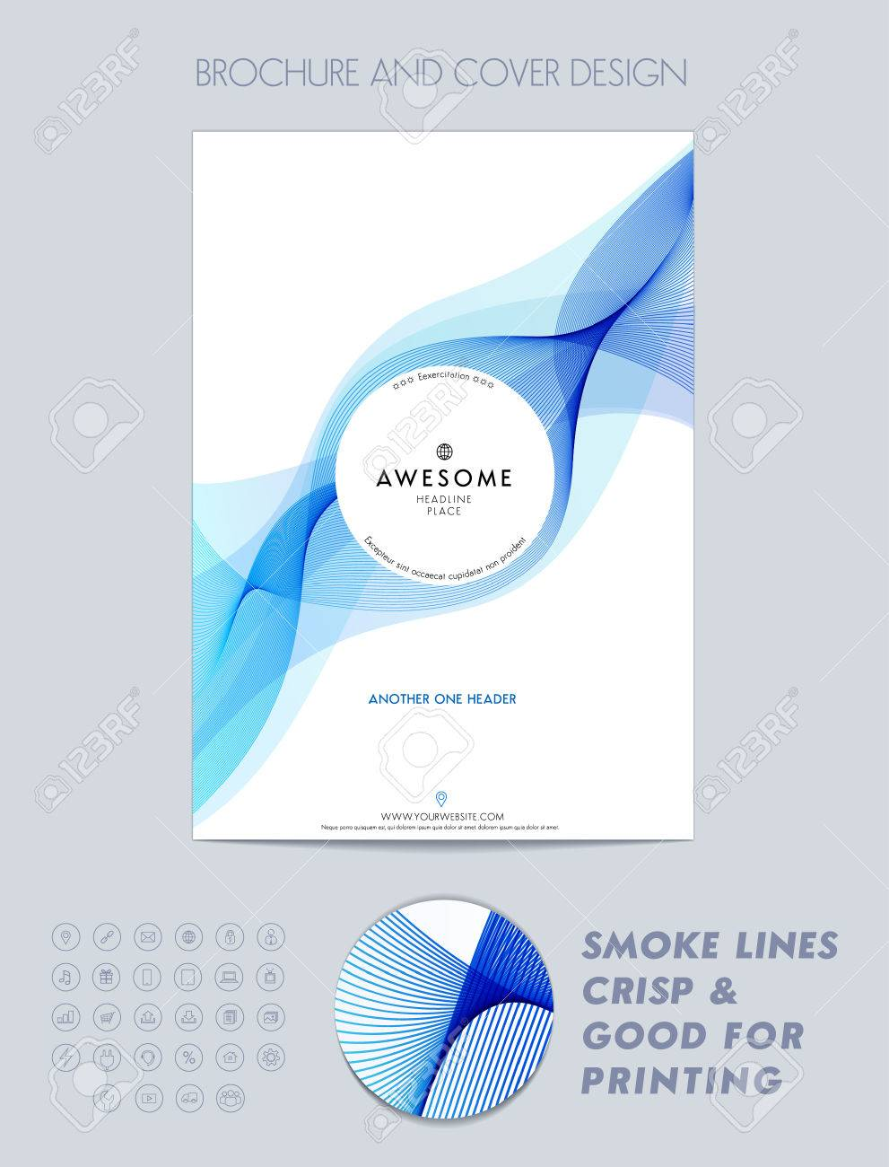 Layout cover design, brochure template, magazine, flyer, booklet or report in A4 blue color. - 52680644