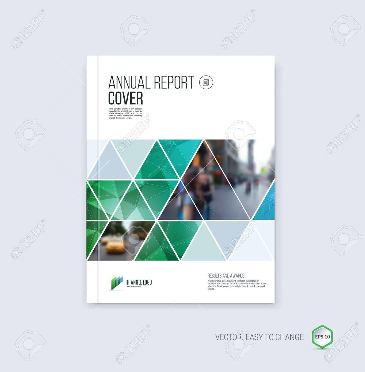Brochure template layout, cover design annual report, magazine, flyer or booklet in A4 with blue geometric shapes on polygonal background. - 52680645
