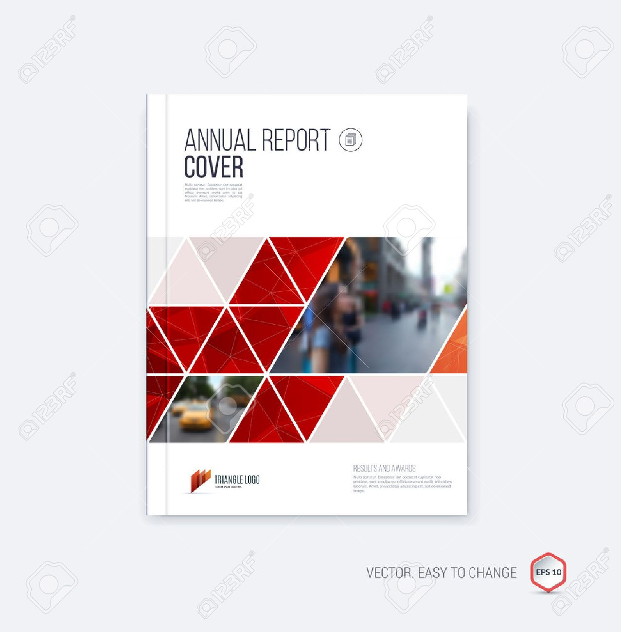 Brochure template layout, cover design annual report, magazine, flyer or booklet in A4 with geometric shapes on polygonal background. - 52680499