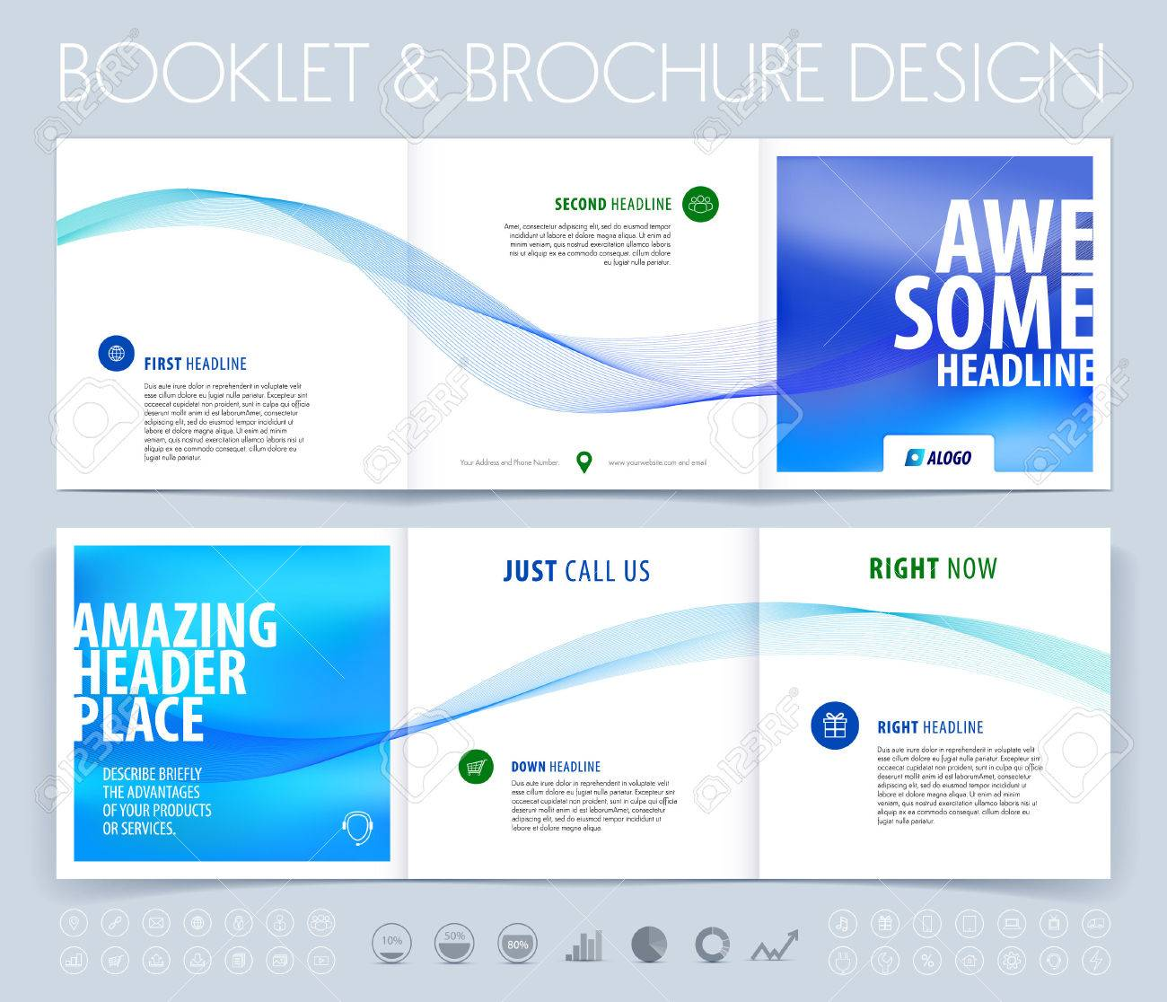 Business brochure, flyer and cover design layout template with blue grey polygonal background. - 52680432