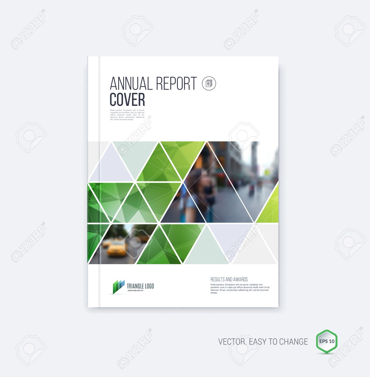 Brochure template layout, cover design annual report, magazine, flyer or booklet in A4 with geometric shapes on polygonal background. - 52680441