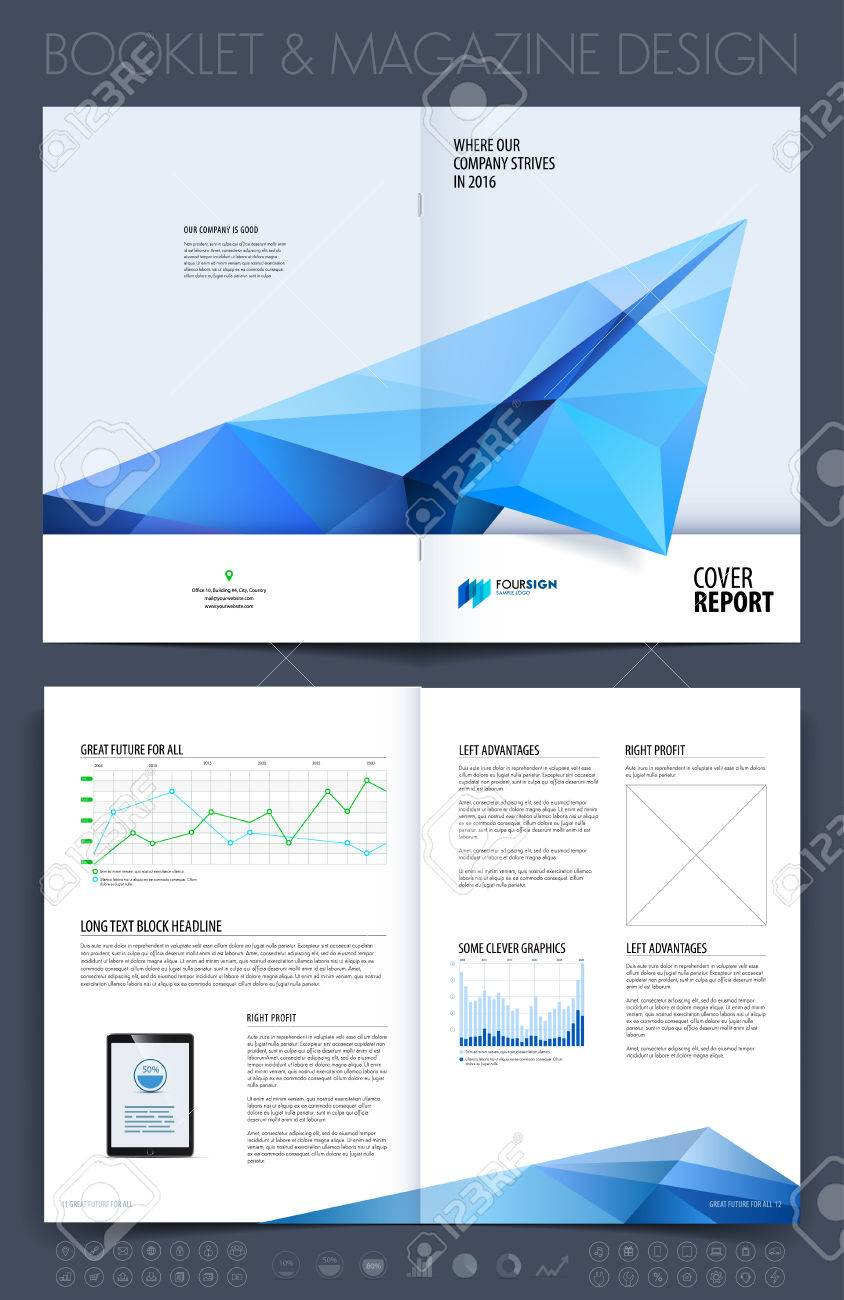 Business brochure, flyer and cover design layout template with blue grey polygonal paper plane. - 52680445