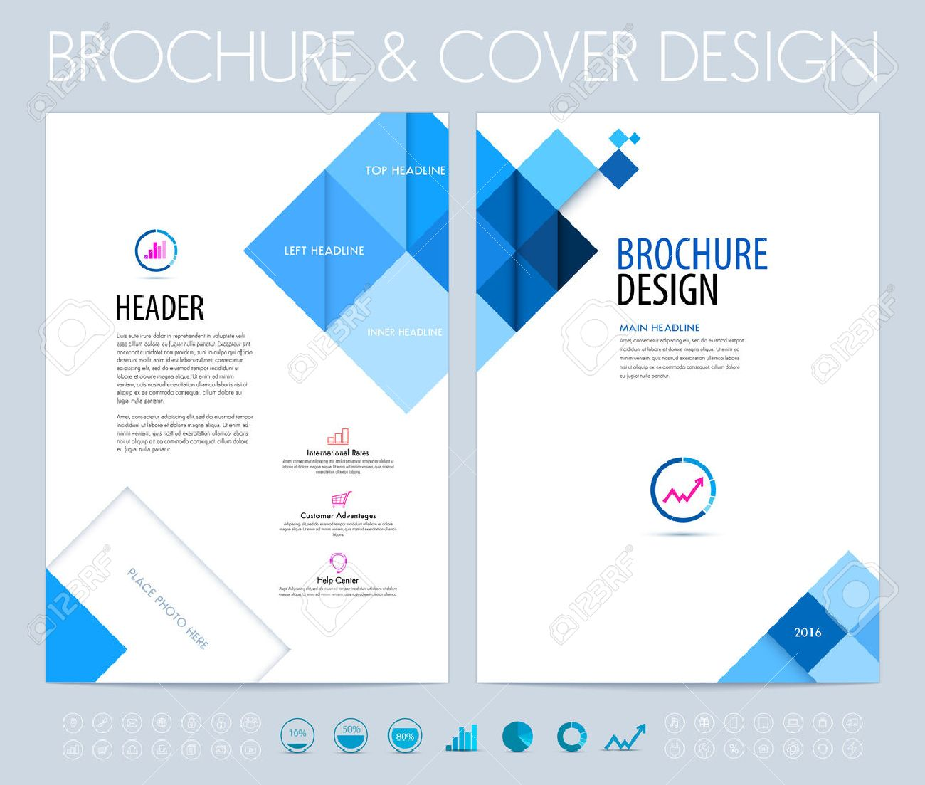 Business brochure, flyer and booklet design layout template with blue squares and polygons. - 52680406