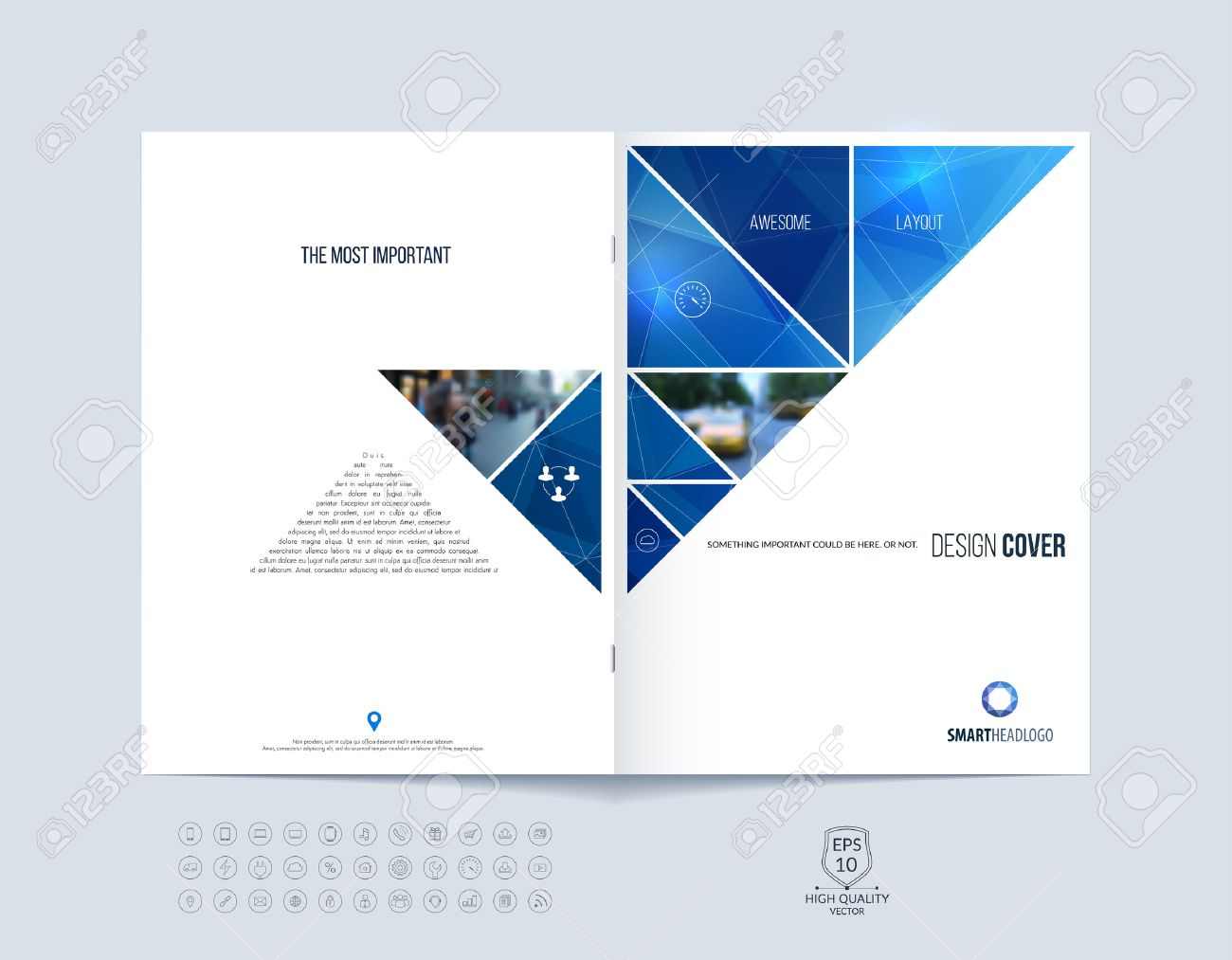 Brochure template layout, cover design annual report, magazine, flyer or booklet in A4 with blue dynamic triangular geometric shapes on polygonal background. Vector Illustration. - 54499807