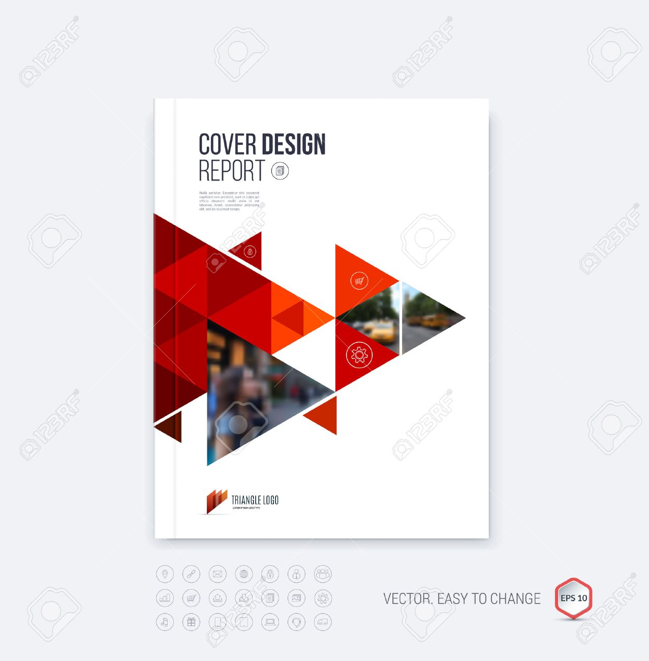 Brochure template layout, cover design annual report, magazine, flyer or booklet in A4 with red dynamic triangular geometric shapes on polygonal background. Vector Illustration. - 54499818
