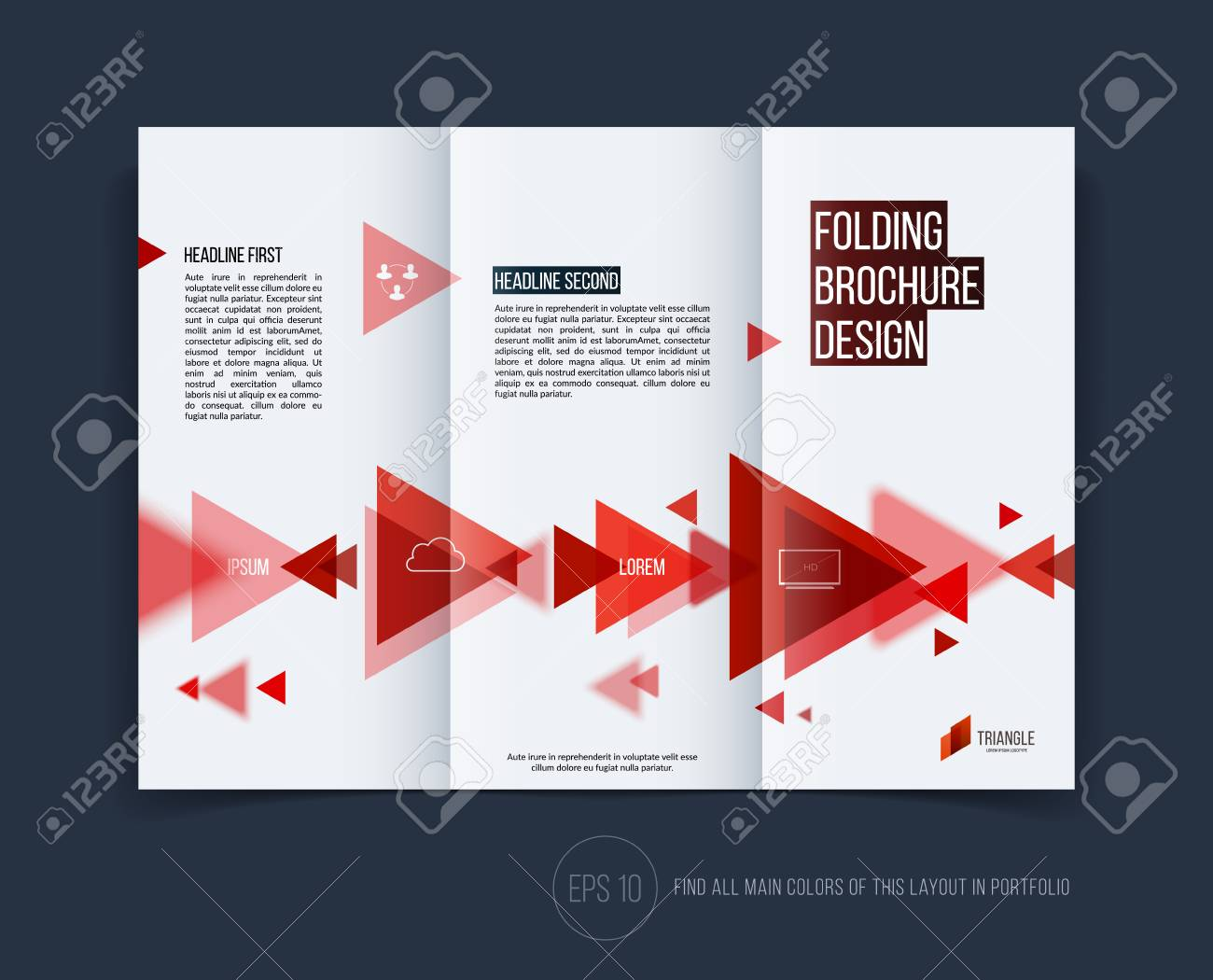 Vector abstract brochure flyer design, business cover template layout, report, magazine or booklet in A4 with red moving triangular geometric shapes on white background. - 54504094