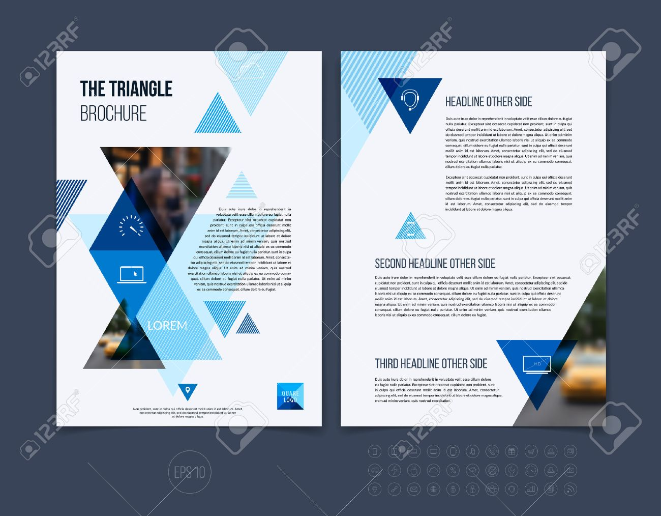 Brochure template layout, cover design annual report, magazine, flyer or booklet in A4 with blue dynamic triangular geometric shapes on white background. Vector Illustration. - 54505007
