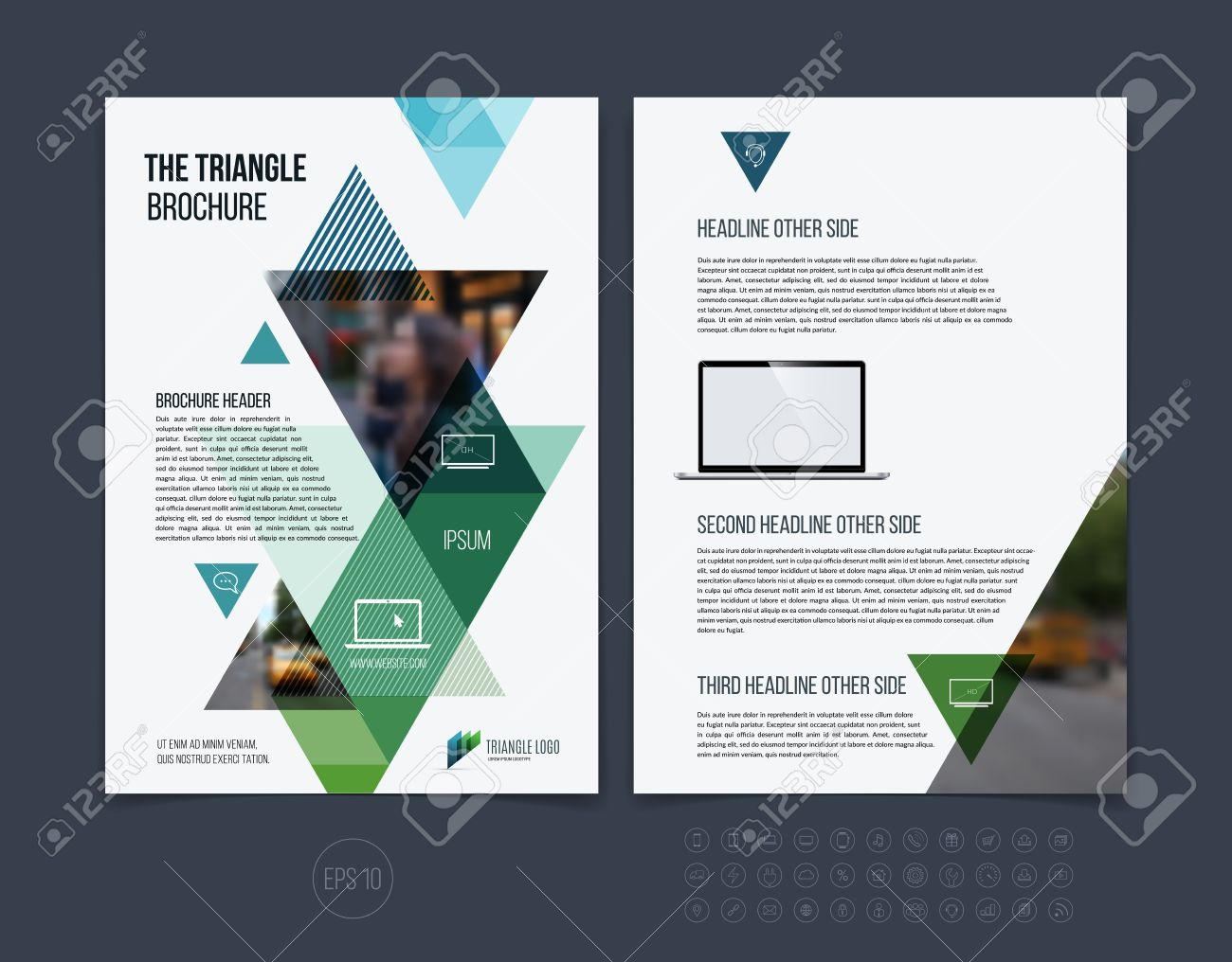 Brochure template layout, cover design annual report, magazine, flyer or booklet in A4 with blue green dynamic triangular geometric shapes on white background. Vector Illustration. - 54505857
