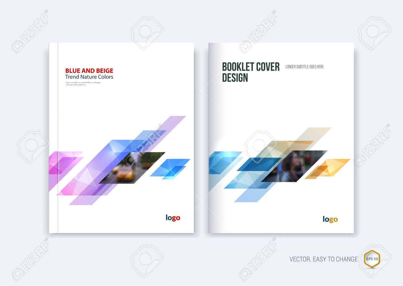 Abstract cover design, business brochure template layout, report, magazine or booklet in A4 with pink blue yellow dynamic diagonal rectangular geometric shapes on polygonal background. Vector illustration. - 56344048