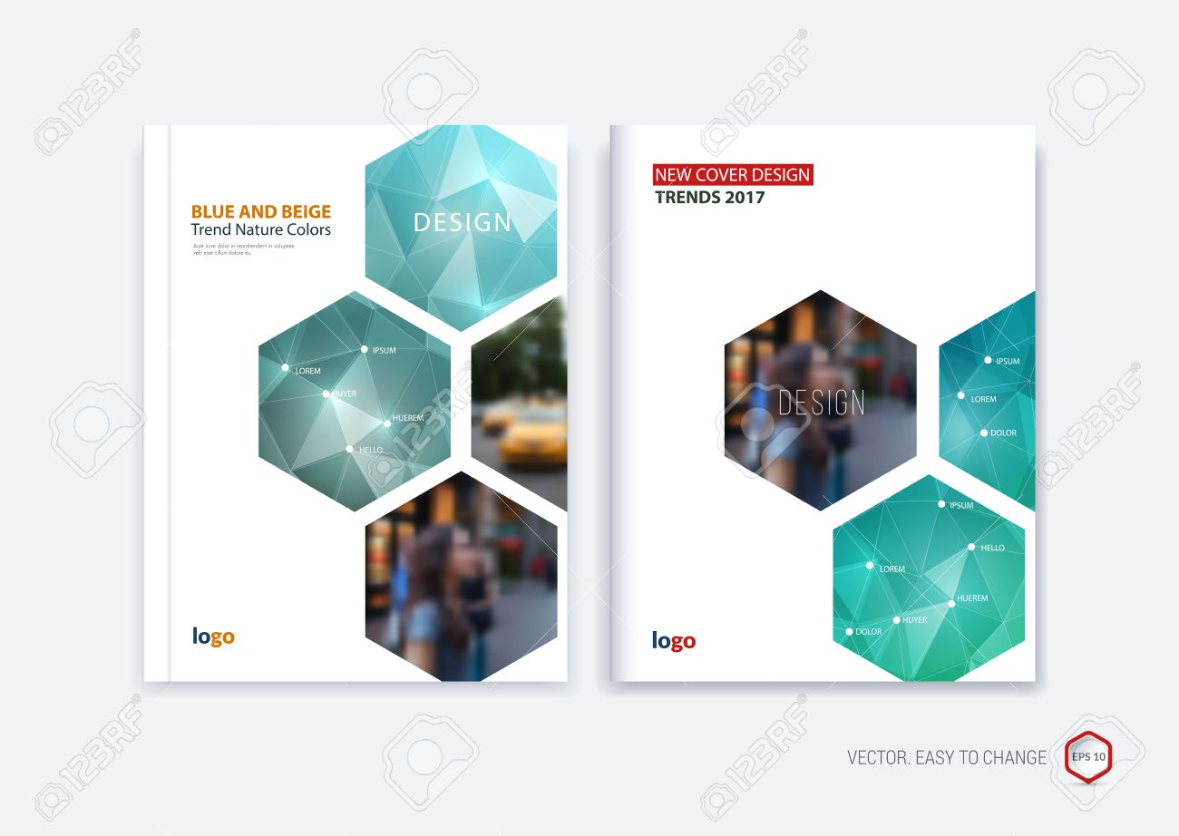 abstract cover design business brochure template layout report booklet in a4 with turquoise