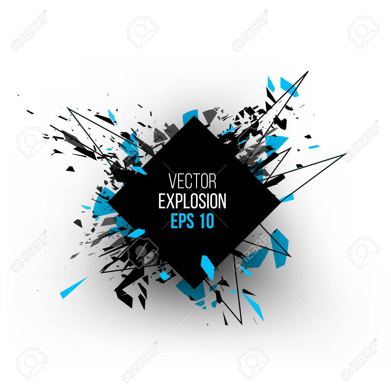 Abstract explosion cloud of black glass pieces on white background for design template with circle. Grunge vector illustration. - 57758726