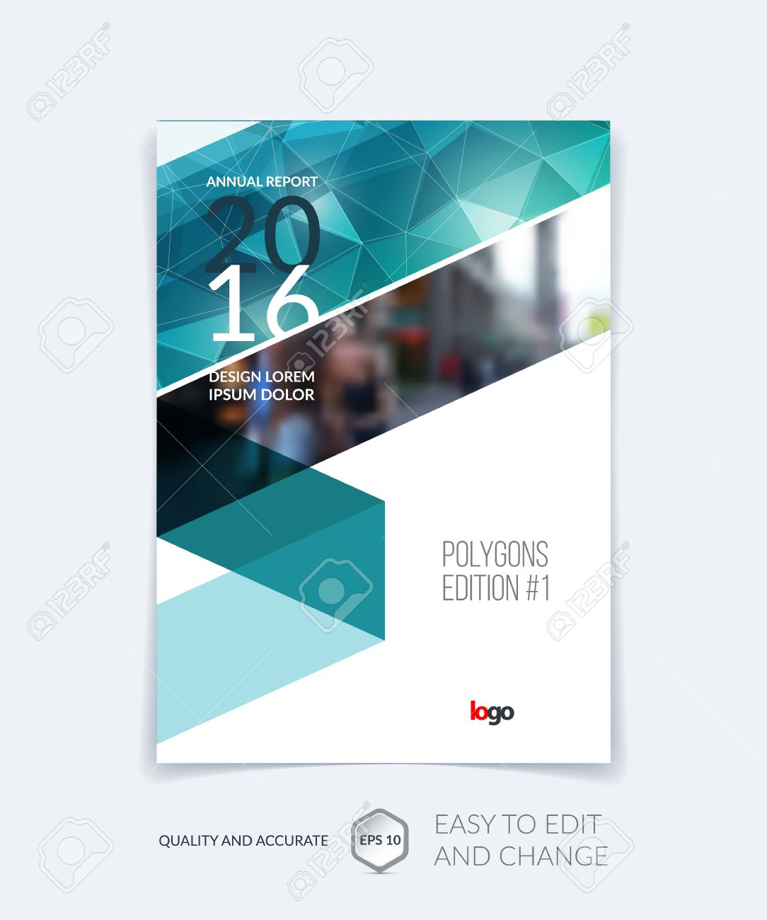 Brochure template layout, cover design annual report, magazine, flyer, leaflet in A4 with emerald triangles for business, technology and science and polygonal background. Vector. - 57759657