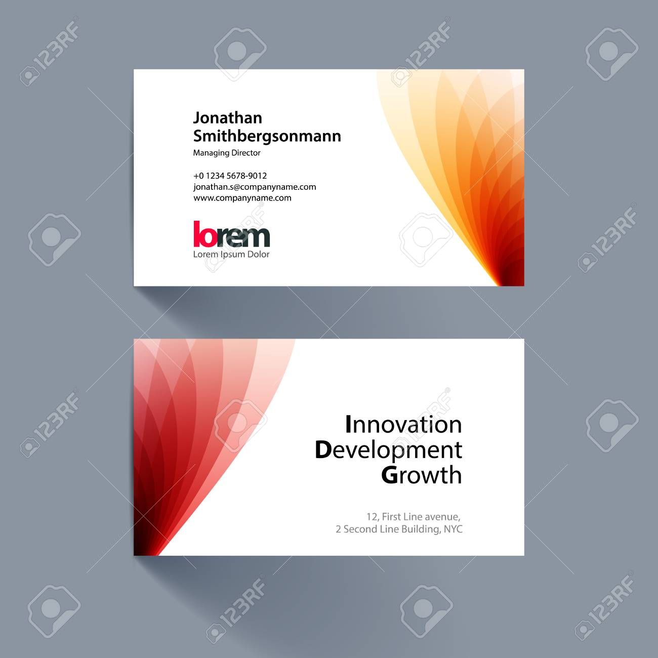 Vector Business Card Template With Red Soft Shapes And Waves ...