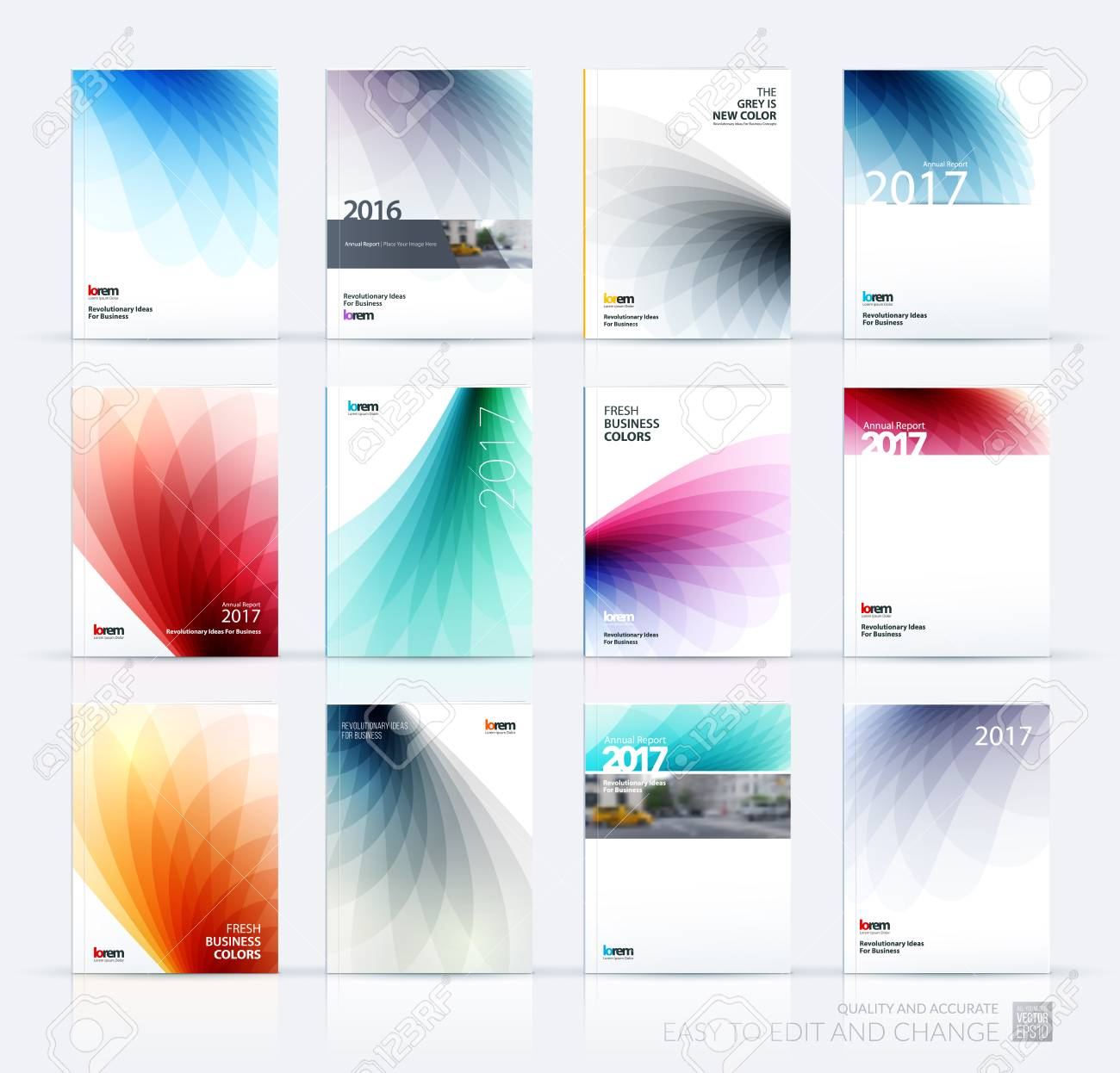 Brochure template layout, cover design annual report, magazine, flyer or booklet in A4 with colorful soft wave flower shapes for business and beauty template with beautiful overlap effect. Vector set. - 59429745