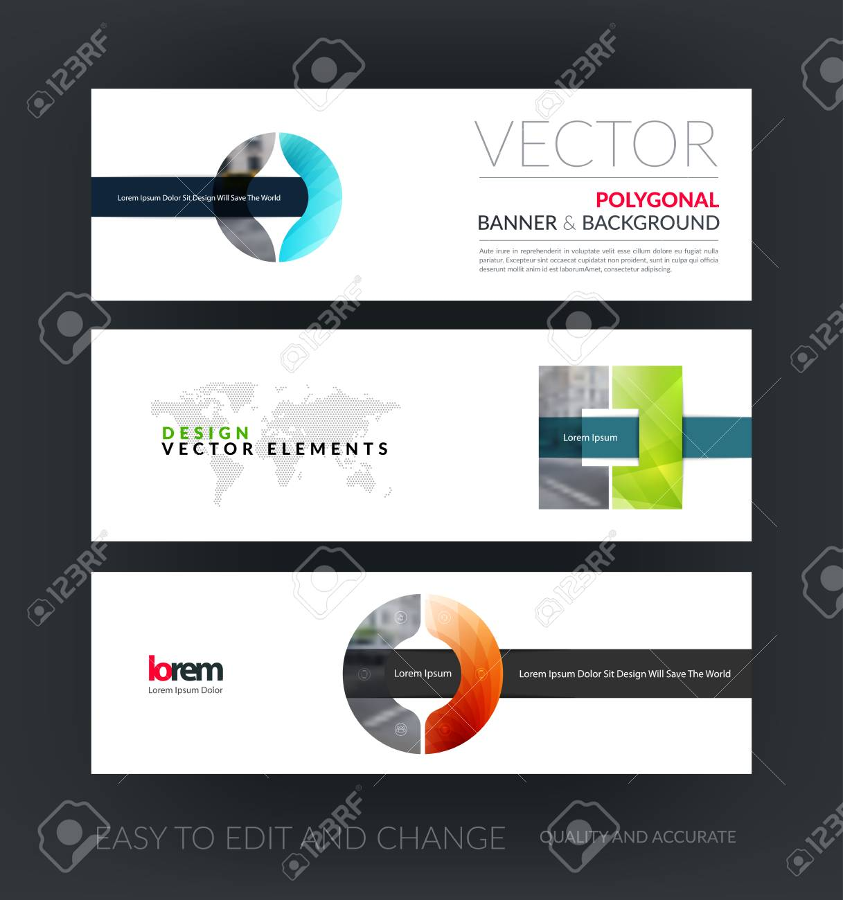 vector set of modern horizontal website banners with circle