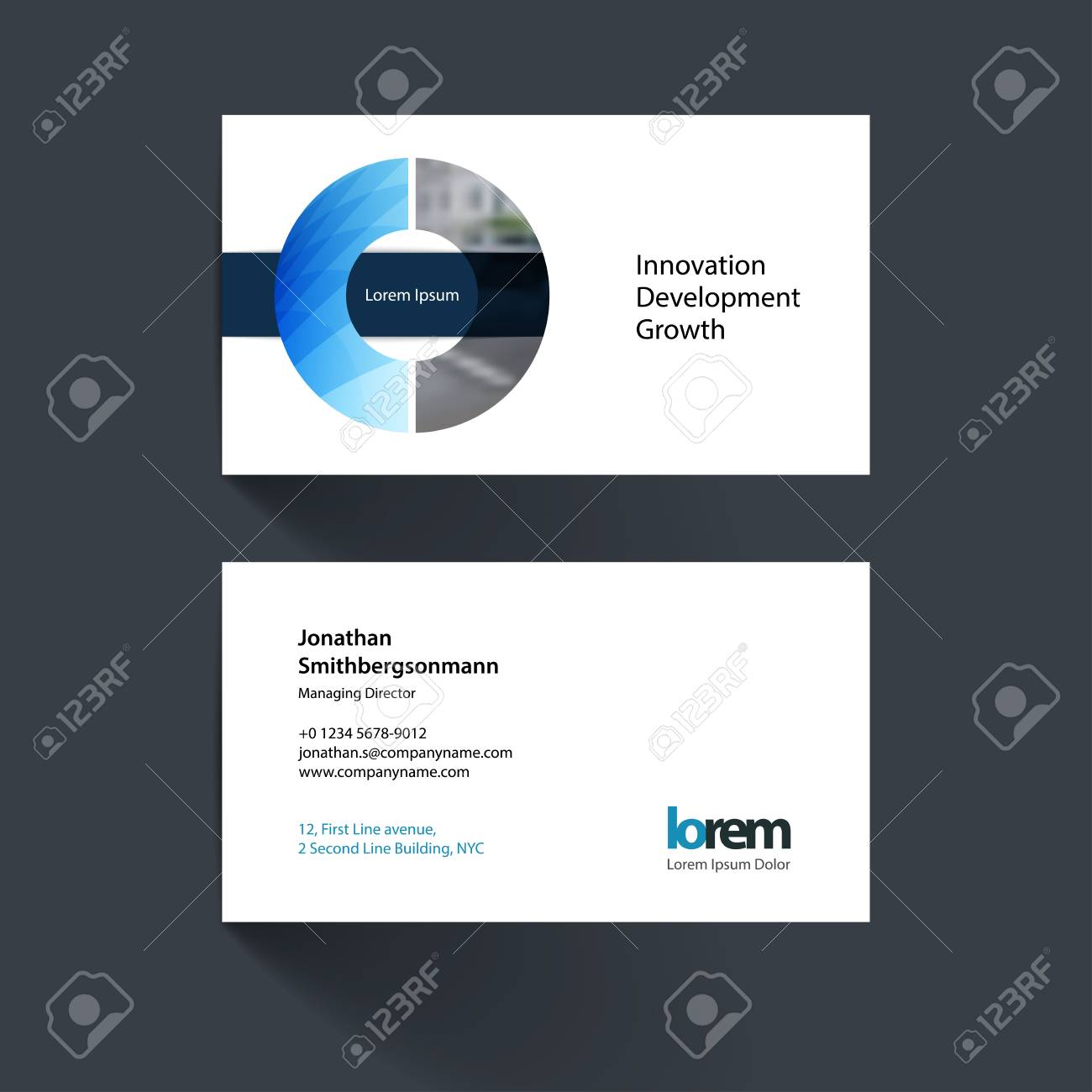 Vector business card template with circle geometric shape and vector vector business card template with circle geometric shape and overlap effect for business books with industrial and science concept wajeb Images