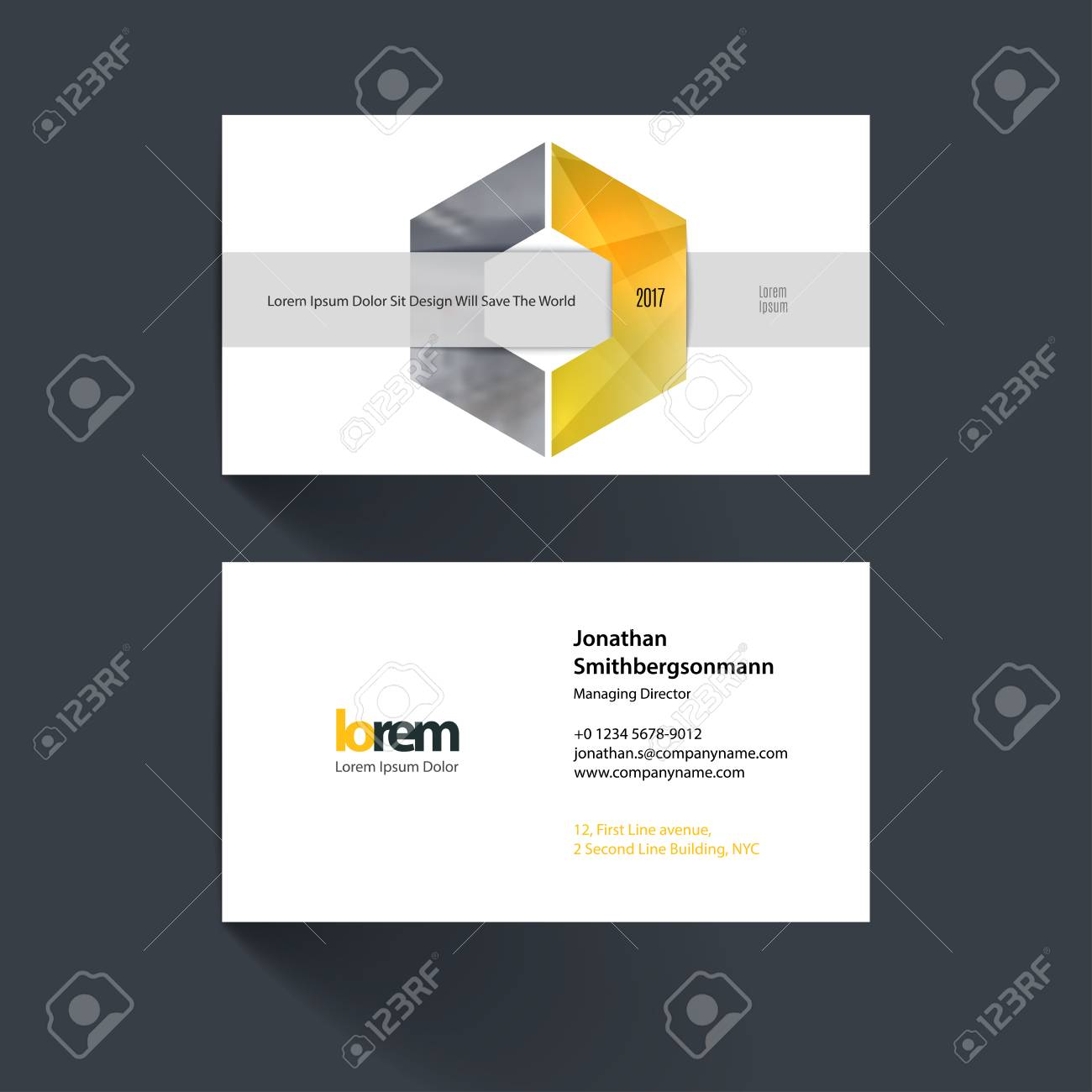 Vector Business Card Template With Geometric Shape And Overlap ...