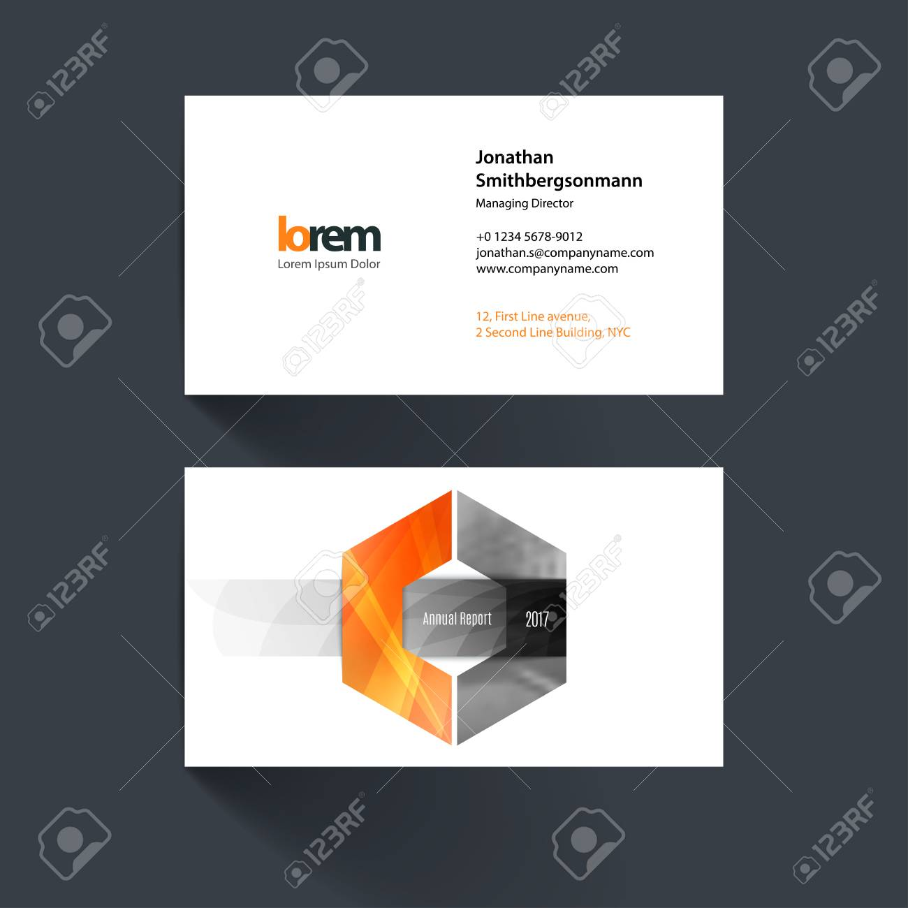 Vector Business Card Template With Hexagon Geometric Shape And ...