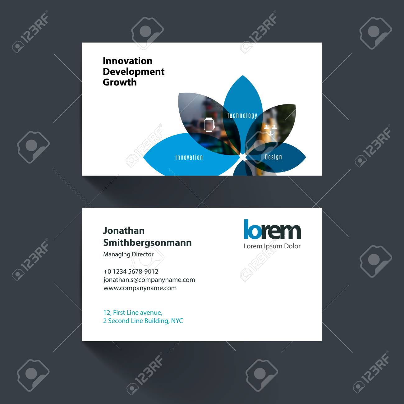 Vector business card template with with flower petals shapes vector vector business card template with with flower petals shapes for engineering and nature concept simple and clean design reheart Images