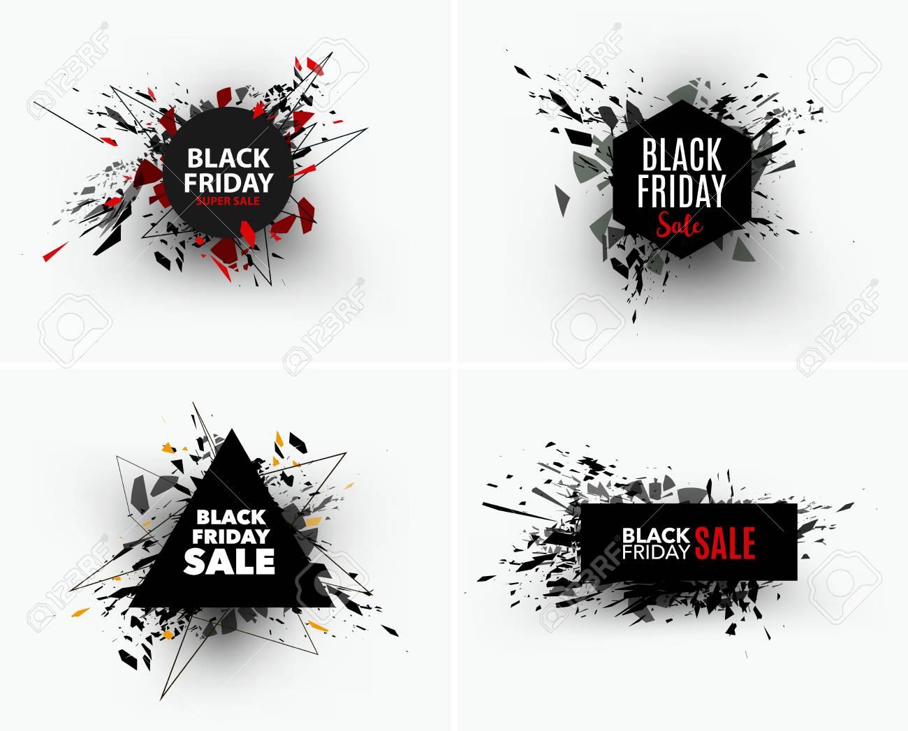 848ca3a933a Black Friday sale inscription design template. Geometric banners. Vector  illustration