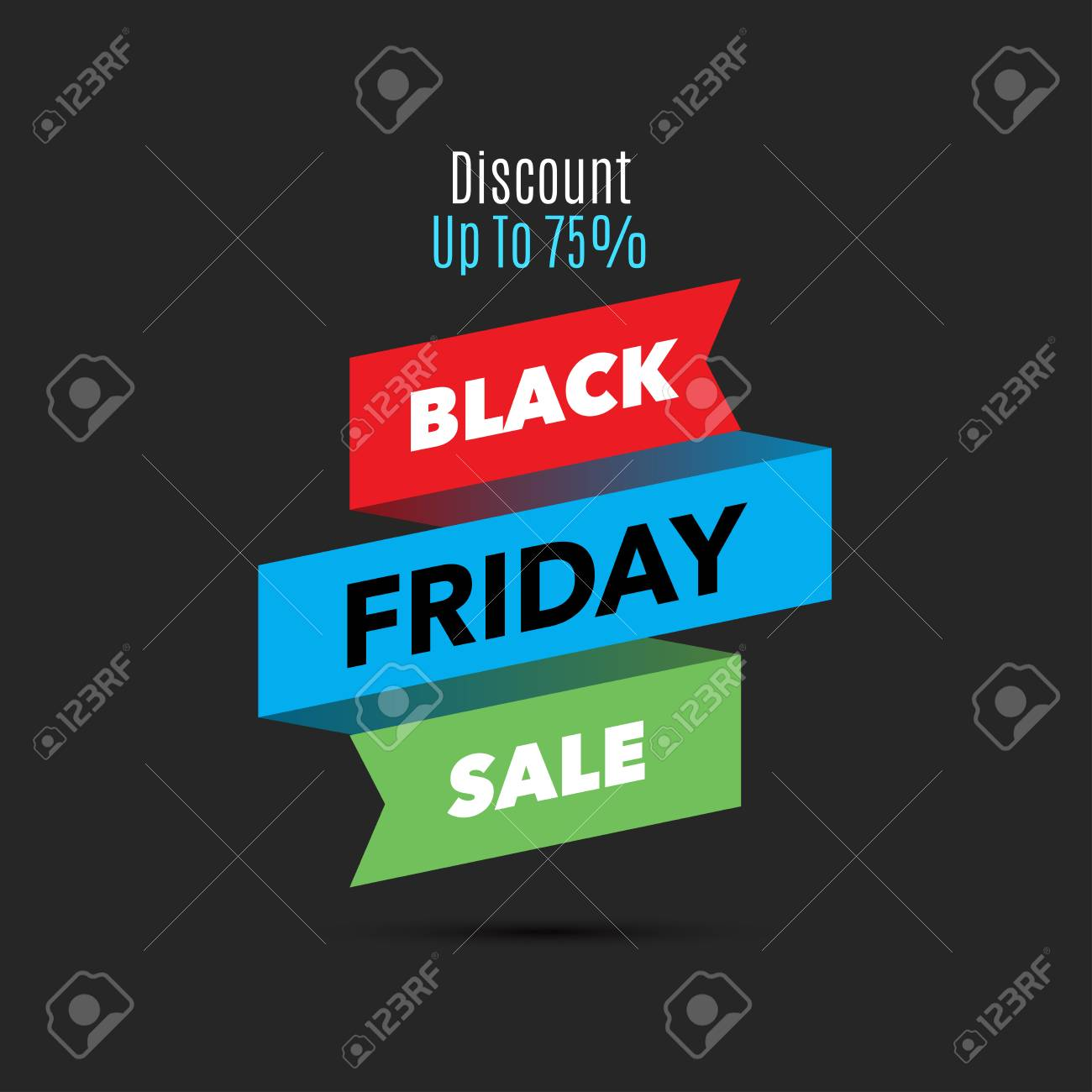 Black Friday Sale Design Template Creative Banner Vector Ribbon