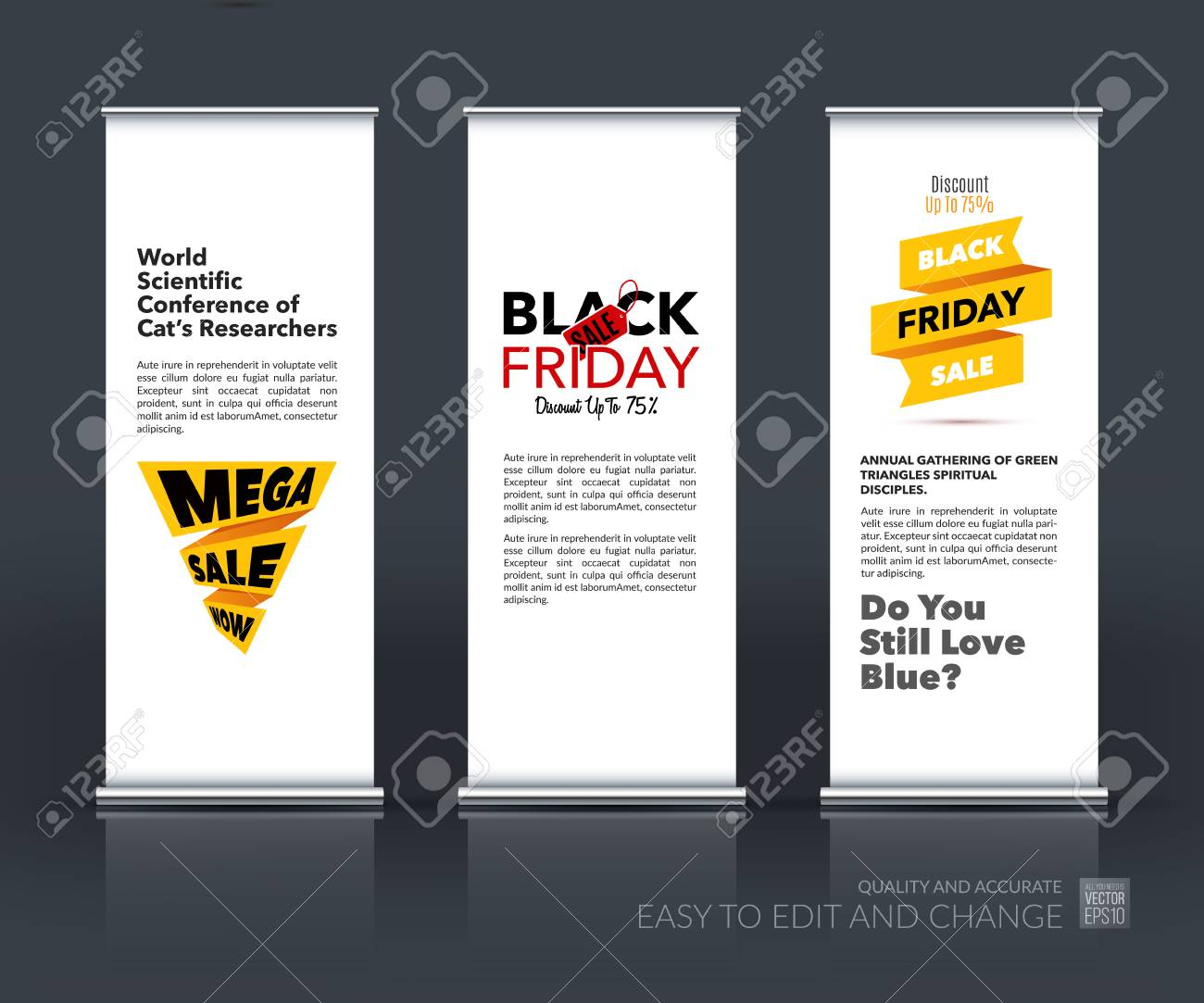 Modern Exhibition Stand Price : Vector set of modern roll up banner stand design with black friday
